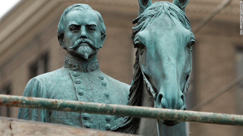 A statue of Confederate leader Gen. John Hunt Morgan scheduled to be taken down in Lexington, KY