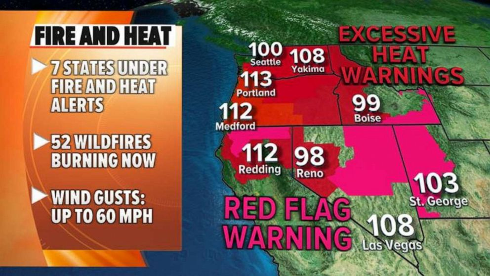 image of north pacific USA map with excessive heat warnings