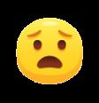 Emoji of a scared face.
