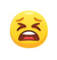 Emoji of an upset face.