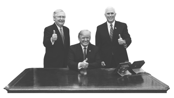 McConnell, Trump, Pence at desk
