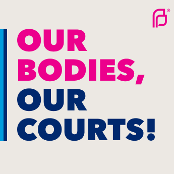 A social sharing graphic that says 'Our bodies, our courts.'