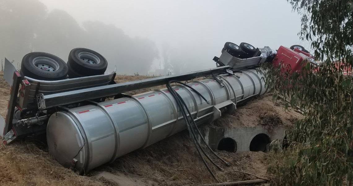 Overturned tanker truck
