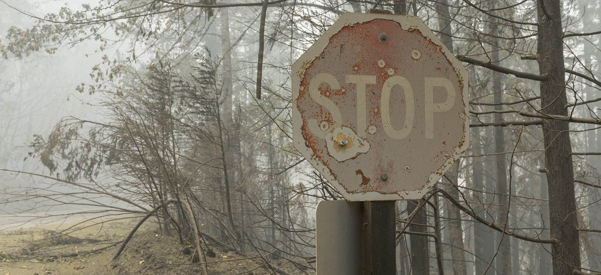 Burnt stop sign
