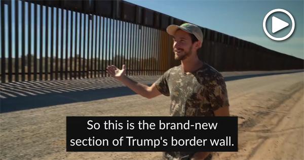 Laiken Jordahl at new border wall construction