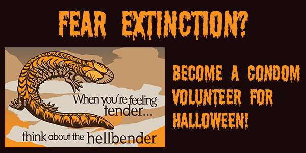 Halloween condom sign-up graphic