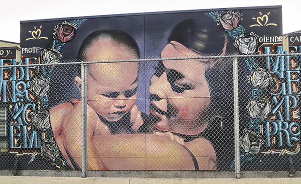 Mural of mother and child