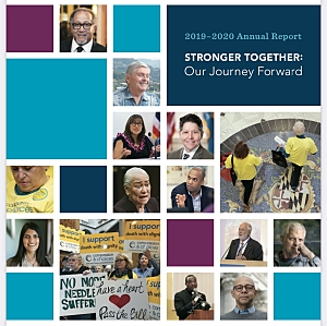 Annual Report cover with 20 squares with supporter photos