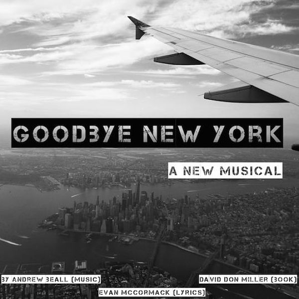 """A view over the wing of an airplane with the words """"Goodbye New York"""""""