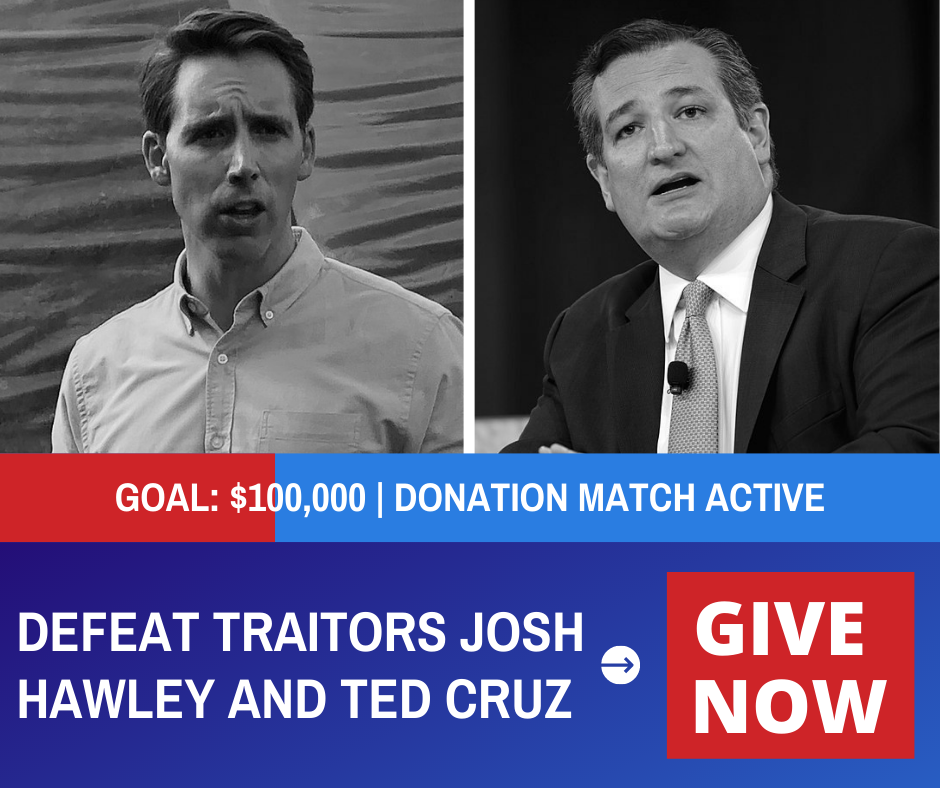 Defeat traitors Josh Hawley and Ted Cruz. Give now!