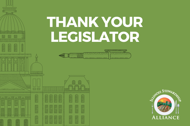 Thank your legislator! Pictured is a drawing of the State Capitol Building with the works 'Thank Your Legislator''