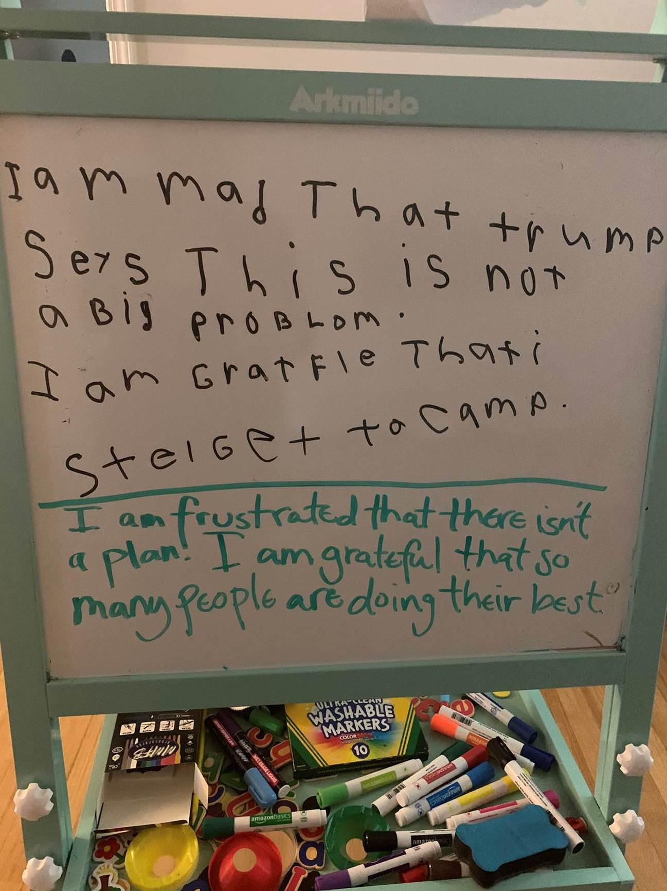 """A whiteboard which reads, in a child's handwriting, """"I am mad that trump says this is not a big problem. I am grateful that I still get to go to camp."""" Below, in an adult's handwriting: """"I am frustrated that there isn't a plan! I am grateful that so many people are doing their best."""""""