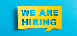 a message bubble that says we are hiring