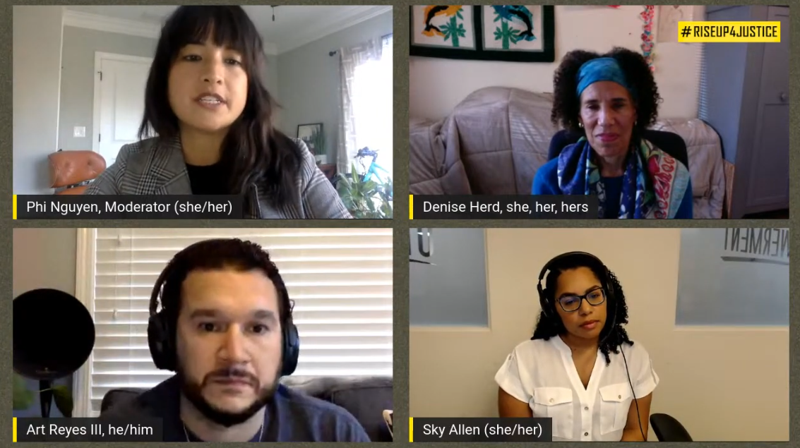 Image grab shows the panelists from the RiseUp4Justice livestream