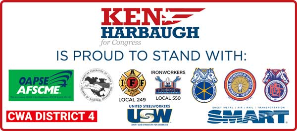 Logos from endorsements: CWA District 4, Brotherhood of Locomotive Engineers and Trainmen, IBEW, Local #668, OAPSE/AFSCME Local 4, AFL-CIO Teamsters, USW, IAFF Local 249, Ironworkers Local 550, SMART (Sheet Metal, Air, Rail, Transportation), AFL-CIO