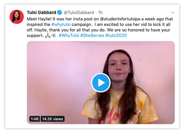 Tweet by Haylie, Students for Tulsi PA