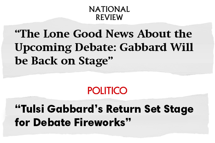 Graphic of headlines from Politico and National Review