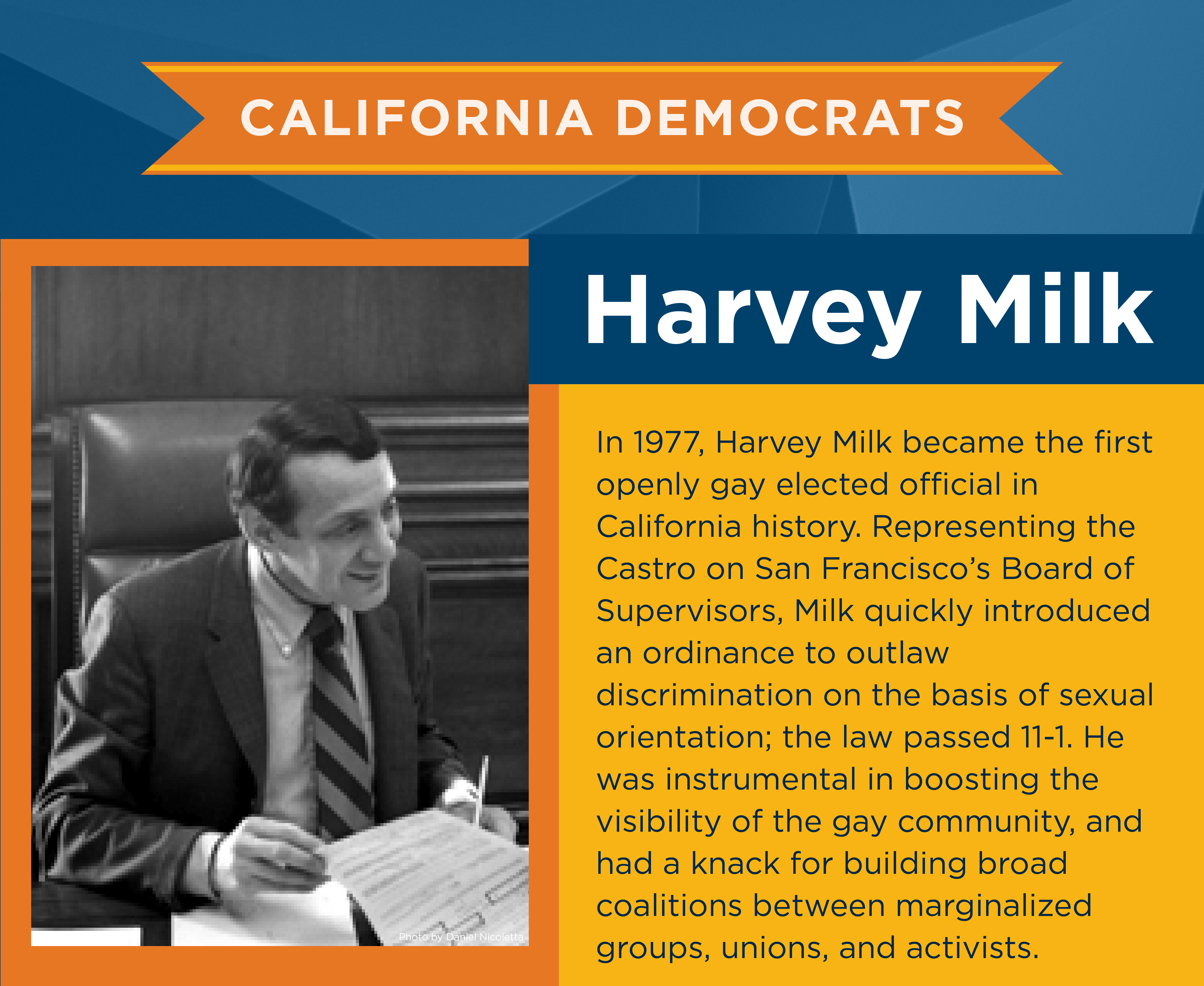 In 1977, Harvey Milk became the first openly gay elected official in California history. Representing the Castro on San Francisco's Board of Supervisors, Milk quickly introduced an ordinance to outlaw discrimination on the basis of sexual orientation; the law passed 11-1. He was instrumental in boosting the visibility of the gay community, and had a knack for building broad coalitions between marginalized groups, unions, and activists.