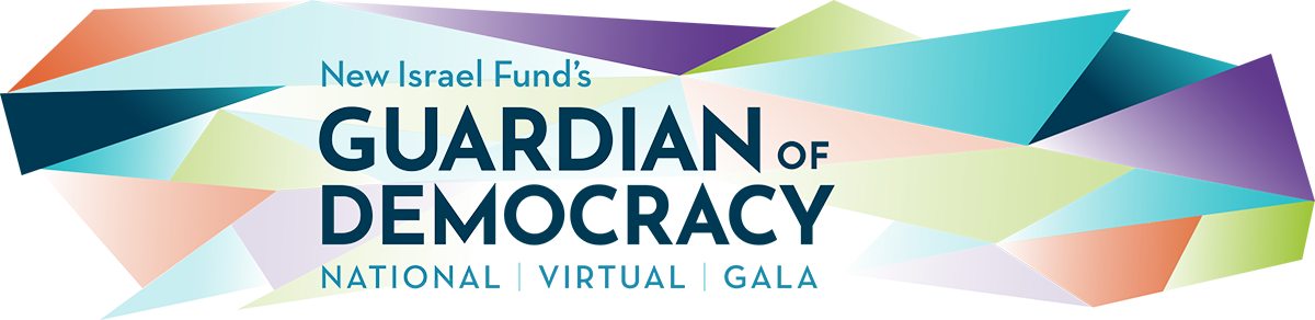 image branding - colorful triangles with the words New Israel Fund's Guardian of Democracy National Virtual Gala