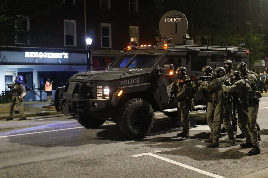 Armored car with police