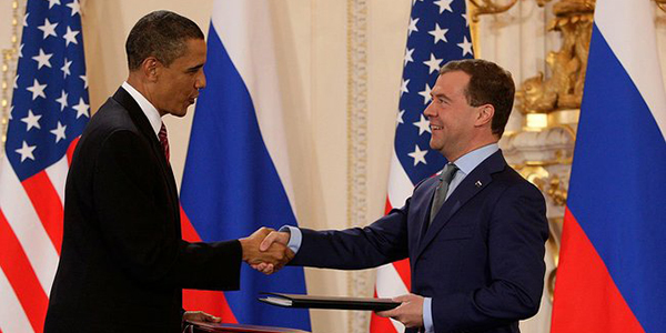 Obama and Medvedev at New Start signing in 2010