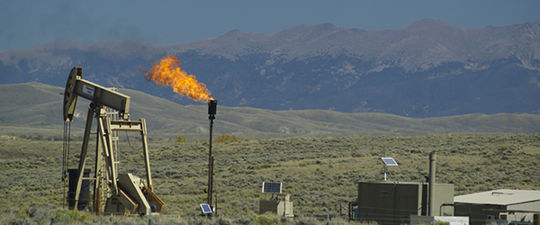 Fracking flare in Wyoming