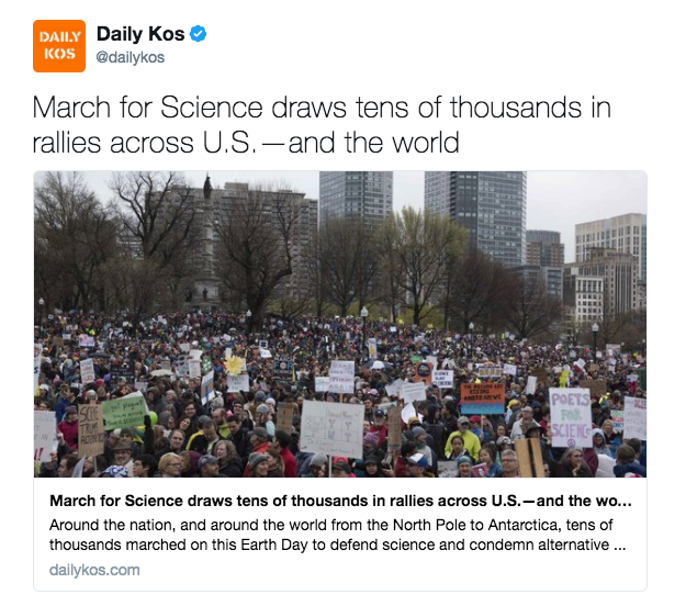 Daily Kos ‏@dailykos March for Science draws tens of thousands in rallies across U.S.—and the world