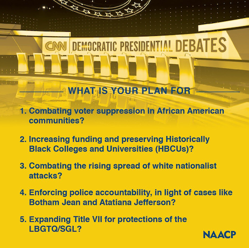 What is your plan for 1) Combating voter suppression in African American communities? 2) Increasing funding and preserving Historically Black Colleges and Universities (HBCUs)? 3)Combating the rising spread of white nationalist attacks? 4)Enforcing police accountability, in light of cases like Botham Jean and Atatiana Jefferson? 5)Expanding Title VII for protections of the LBGTQ/SGL?