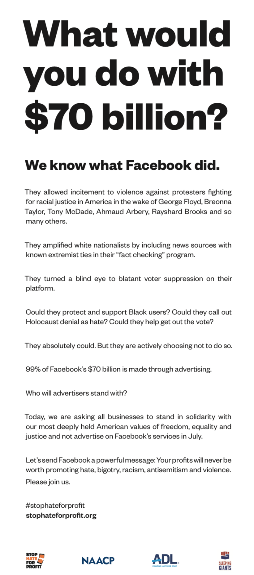 Solidarity - Facebook Ads Promoting Hate Graphic