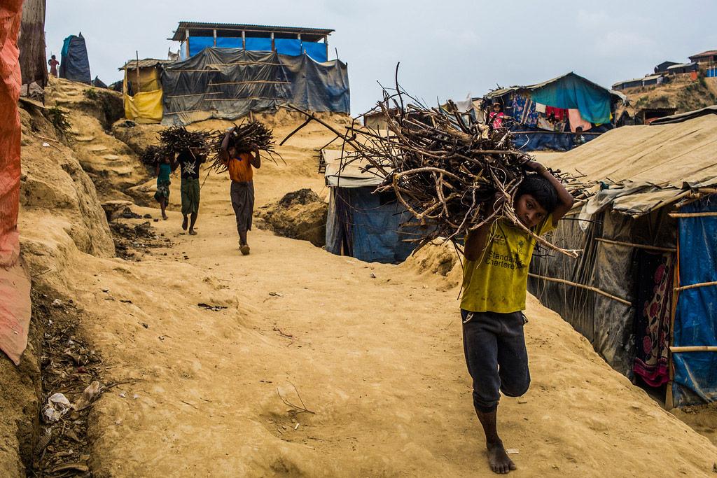 Children Carrying Bundles of Sticks